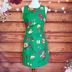 J. Crew Green Floral Sheath Dress